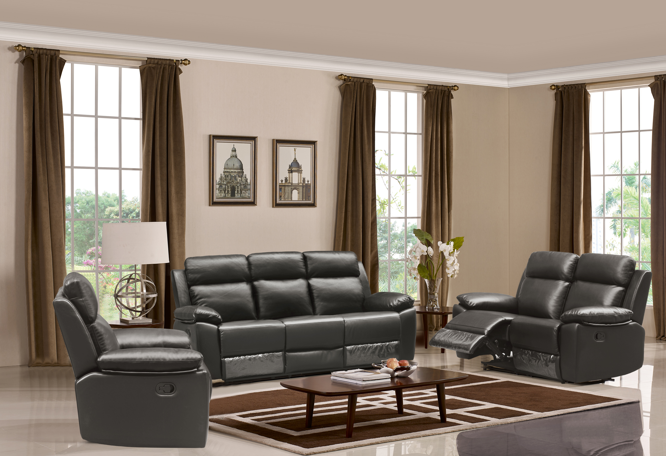 Leo Reclining 2 PC Sofa and Chair Set Leather Air Code G12